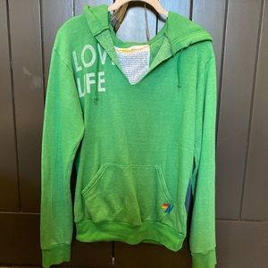 "GREEN AVIATOR NATION ""love life"" vneck hoodie"